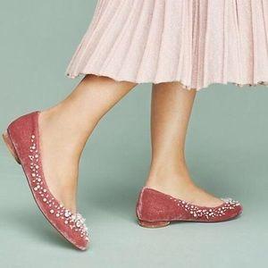 Anthropologie Rose Pink Opulent Ballet Flats